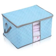 New Portable Non-woven Folding Pouch Holder Blanket Square Quilt Storage Box Bag Blue