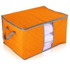 New Portable Non-woven Folding Pouch Holder Blanket Square Quilt Storage Box Bag Orange
