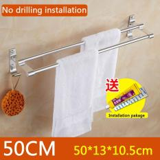 No Drilling Required, 50cm In Length X 13cm In Width, Double Towel Bar Brushed, Bathroom Shelves, Towel Holders Bath, Towel Rack, Bathroom Shelves, Aluminum Bath Wall Shelf Rack Hanging Towel Dual Hanger - Intl