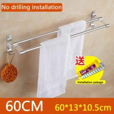No Drilling Required, 60cm In Length X 13cm In Width, Double Towel Bar Brushed, Bathroom Shelves, Towel Holders Bath, Towel Rack, Bathroom Shelves, Aluminum Bath Wall Shelf Rack Hanging Towel Dual Hanger - Intl
