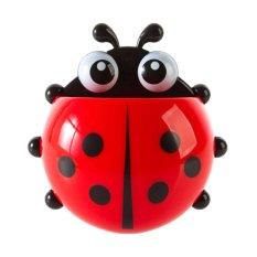Novel Cute Ladybug Cartoon Wall Sucker Toothbrush Stand Holder Bathroom Set – Red (Intl)