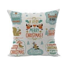 Nunubee Pillowcase Cotton Linen Home Square Pillow Decorative Throw Pillow Case Sofa Cushion Cover Christmas Multi 10 - Intl