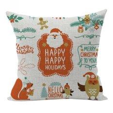 Nunubee Pillowcase Cotton Linen Home Square Pillow Decorative Throw Pillow Case Sofa Cushion Cover Christmas Multi 11