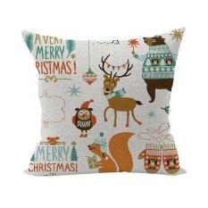 Nunubee Pillowcase Cotton Linen Home Square Pillow Decorative Throw Pillow Case Sofa Cushion Cover Christmas Multi 8 - Intl