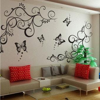 OEM Waterproof Bunga Kupu-Kupu Daun Diseduh Sendiri Stiker Dinding Mural Kamar Tidur Dekorasi Rumah