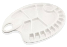 Ooplm Profesional 17-Well Thumb Hole Paint Palette Tray, White