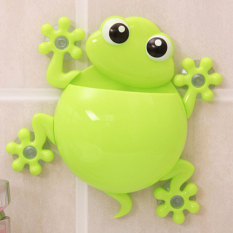 PAlight Cartoon Gecko Bathroom Wall Sucker Toothbrush Holder (Green)