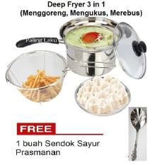 Paling Laku Deep Fryer 22 cm Multifungsi 3 in 1 - Stainless + Free sendok sayur