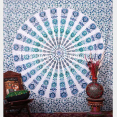 Peacock Printed Indian Mandala Chiffon Rectangle Beach Towels Beach Shawl Throw Tapestry Toalla Playa (Sky Blue) 210x150cm - Intl