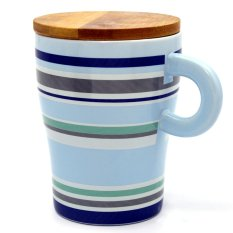 Personalized Colours Style Ceramic Cup Tea Milk Coffee Mug with Wooden Lid 320m (Blue)