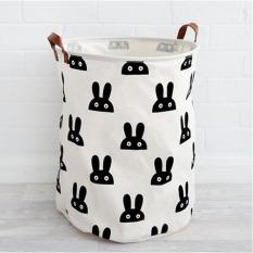 Popular Large Toys Storages Bag Rabbits Pattern Modern Style Canvas Folding Laundry Basket Kids Room Toys Storage Bag 50x40cm