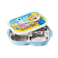 Pororo Portable Stainless Steel Divided Food Tray, Platter With Lid In (Blue)