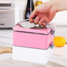 Portable Lunch Box Double-layer Hot Water Heating Dinnerware Food Container Picnic Food Storage Bento 1500ml (2 Layer) - Green - Intl