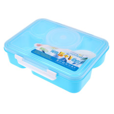 Portable Microwave Bento Lunch Box 5 + 1 Food Container Storage Box A (Blue)