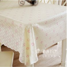 PVC Tablecloth Dining Table Plastic Cover Coffee End Table Cloth Mat Beige Pink (Intl)