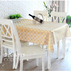 PVC Tablecloth Plastic Cover Dining Coffee Tea Table Waterproof Cloth 100 X 137CM Gold