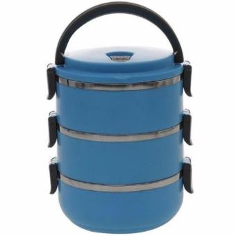 QuincyHome Lunch Box Stainless Steel - Rantang 3 Susun - Blue