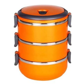 QuincyHome Lunch Box Stainless Steel - Rantang 3 Susun - Orange