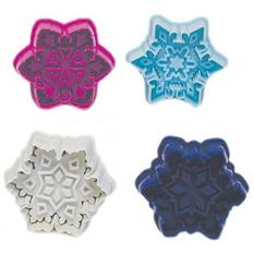 R & M International Set Of 4 Easy To Use Beautiful, Intricate Assorted Snowflake Pastry / Cookie Stampers - Gorgeous Professional Results, Favorite Of Bakers - Intl