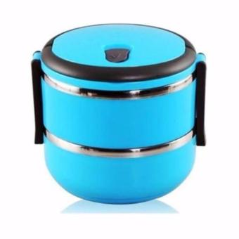 Rantang 2 Susun - Kotak Makan Stainless Steel - Lunch Box 1400 ml - Biru