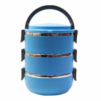 Rantang 3 Susun - Kotak Makan Stainless Steel - Lunch Box 2100 ml - Biru