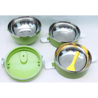 Rantang Stainless Steel Susun 3 - Lunch Box - Babamu - Hijau