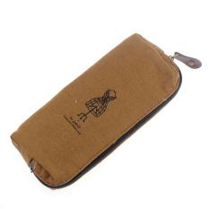 Retro Canvas Pencil Case Cosmetic Makeup Coin Pouch Zipper Bag Purse Coffee