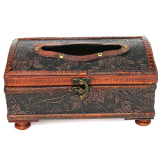 Retro Style Wooden Brown Tissue Box Decoration Copper Ring Decor Elegant Pattern NEW - Intl