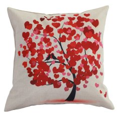 Retro Vintage Nature Tree Pillow Kasus Hal Perkara Kotak Case Cotton Home Decor Cushion Cover (Intl)