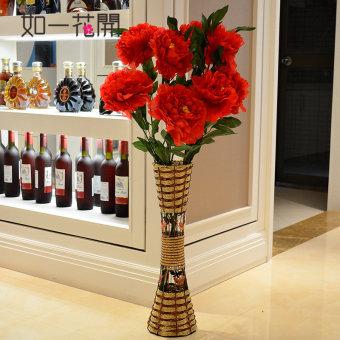 Ruang tamu bunga buatan bunga lantai vas