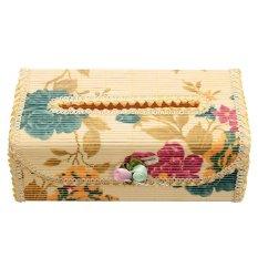 S & F Bamboo Handmade Flower Tissue Box Napkin Holder (Florals)