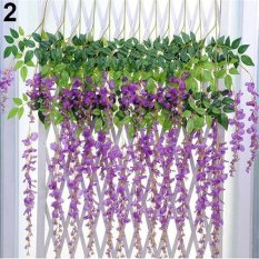 Sanwood® Artificial Wisteria Flowers Vine Silk Flower Wedding Garden Party Hanging Decor (Purple) - intl