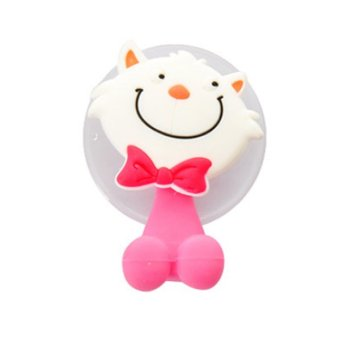 Sanwood Cute Cat Silicone Toothbrush Holder Wall Bathroom Hanger Suction