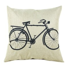 Sanwood Vintage Square Linen Cotton Bike Throw Pillow Cases For Cushion Cover (Intl)