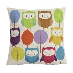 Sanwood Vintage Square Linen Cotton Colorful Owl Throw Pillow Cases For Cushion Cover (Intl)