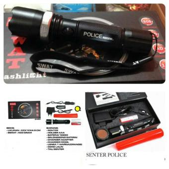 Senter SWAT POLICE Multifungsi 2 Corong Lalin Plus Baterai Charger