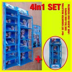Set 4In1 Resleting Karakter Rak Tas Rak Sepatu Rak Jilbab Rak Kosmetik F Rozen Z0128A
