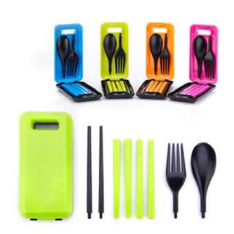 Set Peralatan Makan Travel Sendok Garpu Sumpit Portable + Box