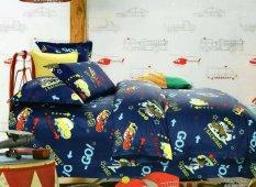 Siliki Sprei - Bedcover Set Sprei Katun Jepang Motif Go Car - Dark Blue
