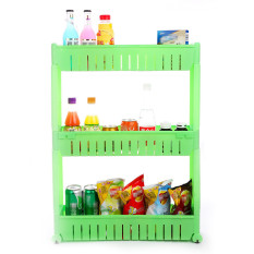 Slide Out Storage Tower Folding 3 Tier Rolling Castor Kitchen Trolley Spice Rack Green
