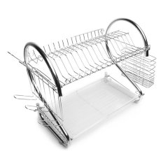Stainless Steel Double Dish Drainer Kitchen Tool - Intl