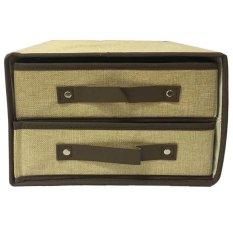StarHome Rak Kain 2 Sekat- Storage Box - Kotak Serbaguna - Kotak Pakaian - Box Pakaian Portable - Coklat Muda