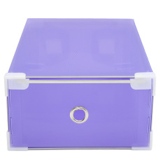 Strong Home Plastic Clear Shoe Boot Box Stackable Foldable Storage Organizer New Purple