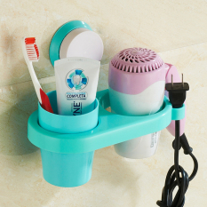Strong Sucker Hair Dryer Racks With Storage Cup - Blue