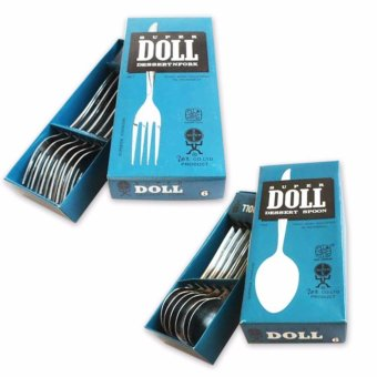 Super doll Sendok Garpu makan stainless steel - 12 pcs