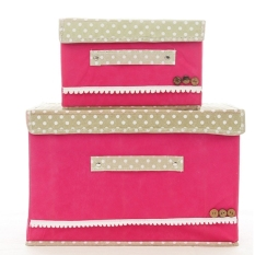 The Butterfly Knot Non-woven Storage Box. With Coverd Large Storage Box. Clothing Organizers Box.Double Box With Different Size. (Rose Red) - Intl