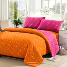 Theora Sprei Katun Motif Polkadot Orange Pink