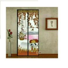 Tirai pintu magnet anti nyamuk motif SANGKAR BURUNG - Coklat