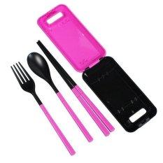 Tokomuda Set Makan Lipat Foldable Compact Travel Utensil Set with Spoon-Fork-Chopstick - Pink