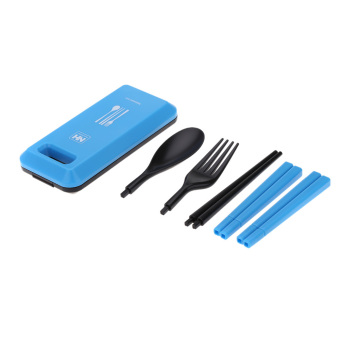 Travel Set Peralatan Makan Portable Box Of Cutlery Biru Rp 57 500 Lima .
